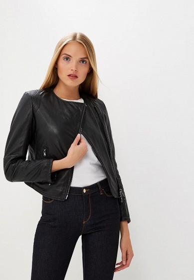 Куртка кожаная, Emporio Armani, цвет: черный. Артикул: EM598EWBLMZ3. Одежда / Верхняя одежда / Кожаные куртки