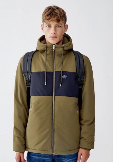 Куртка утепленная, Pull&Bear, цвет: хаки. Артикул: IX001XM000MX. Одежда / Верхняя одежда / Пуховики и зимние куртки
