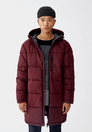 Куртка утепленная, Pull&Bear, цвет: бордовый. Артикул: IX001XM000NS. Одежда / Верхняя одежда / Пуховики и зимние куртки