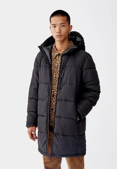 Куртка утепленная, Pull&Bear, цвет: черный. Артикул: IX001XM000NV. Одежда / Верхняя одежда / Пуховики и зимние куртки