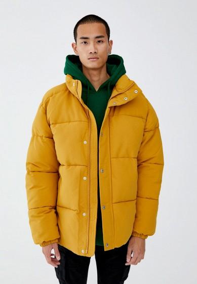 Куртка, Pull&Bear, цвет: желтый. Артикул: IX001XM000OV. Одежда / Верхняя одежда / Пуховики и зимние куртки