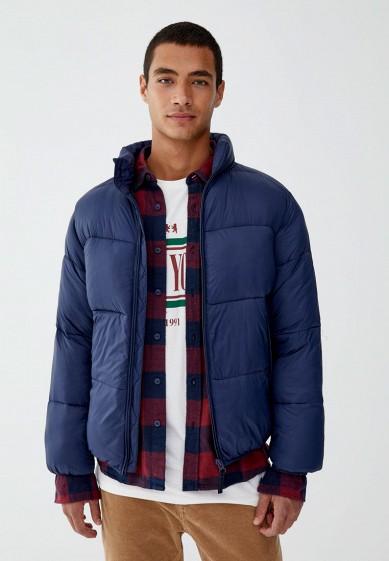 Куртка утепленная, Pull&Bear, цвет: синий. Артикул: IX001XM000QH. Одежда / Верхняя одежда / Пуховики и зимние куртки
