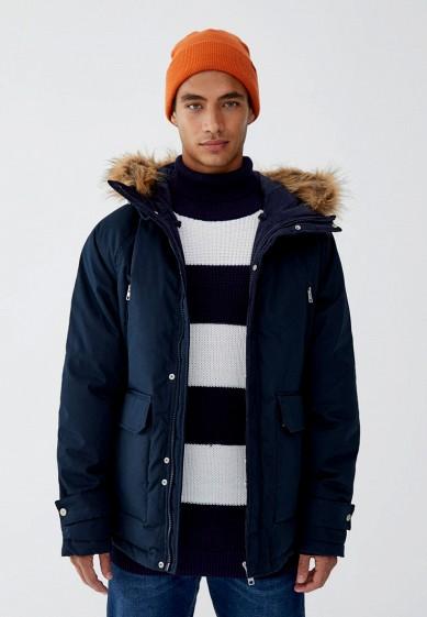 Куртка утепленная, Pull&Bear, цвет: синий. Артикул: IX001XM000VI. Одежда / Верхняя одежда / Пуховики и зимние куртки