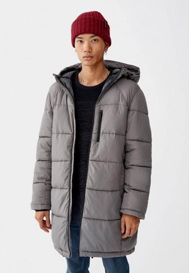 Куртка утепленная, Pull&Bear, цвет: серый. Артикул: IX001XM0010C. Одежда / Верхняя одежда / Пуховики и зимние куртки