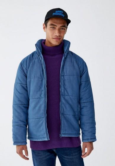 Куртка утепленная, Pull&Bear, цвет: синий. Артикул: IX001XM00130. Одежда / Верхняя одежда / Пуховики и зимние куртки