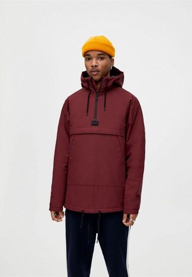 Куртка утепленная, Pull&Bear, цвет: бордовый. Артикул: IX001XM001IO. Одежда / Верхняя одежда / Пуховики и зимние куртки