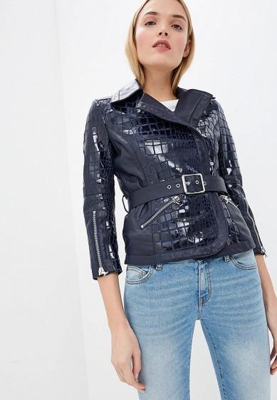 Куртка кожаная, Just Cavalli, цвет: синий. Артикул: JU662EWDMOH0. Premium / Одежда / Верхняя одежда