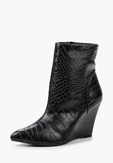 Ботильоны LOST INK WEDGE POINTED SNAKE ANKLE BOOT BLACK