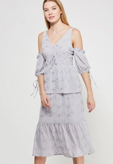 Платье LOST INK EMBROIDERED PUFF SLEEVE MIDI DRESS
