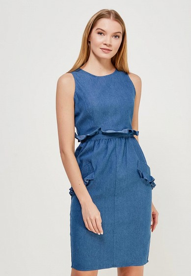 Платье LOST INK HIGH NECK DENIM PAPERBAG BODYCON DRESS