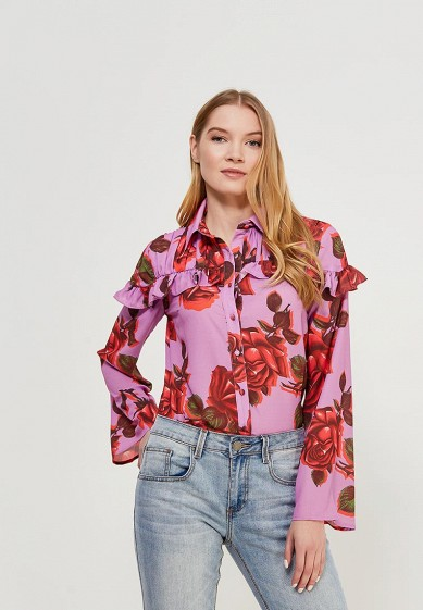 Блуза LOST INK FLORAL PRINTED FRILL SHIRT