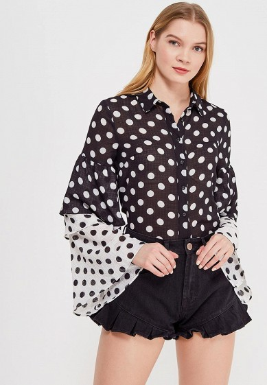 Блуза LOST INK LAYERED FRILL FABRIC MIX POLKA DOT SHIRT