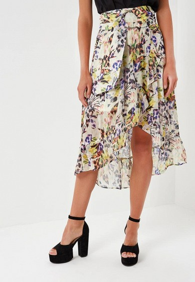 Юбка LOST INK FLOWER LEOPARD PRINT WRAP MIDI SKIRT