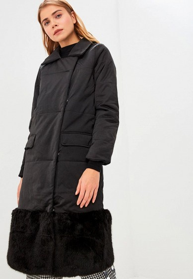 Куртка утепленная LOST INK FAUX FUR PANEL LONGLINE PADDED COAT