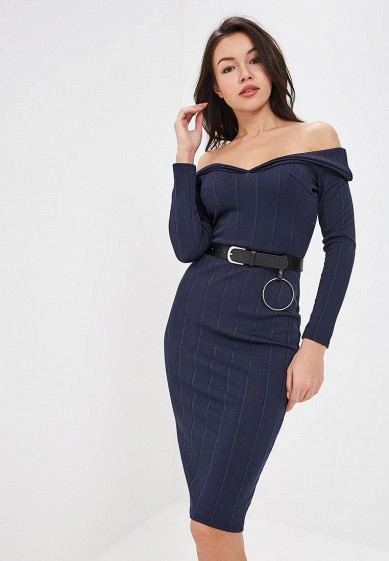 Платье LOST INK FOLD FRONT BARDOT DRESS WITH BELT