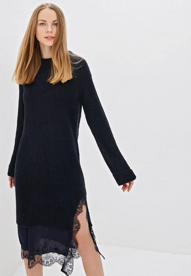 Платье LOST INK HYBRID WOVEN AND LACE MIX KNITTED DRESS
