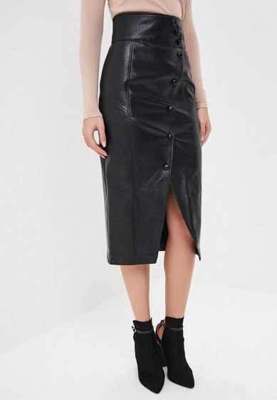 Юбка LOST INK MIDI SKIRT IN PU WITH BUTTON DETAIL