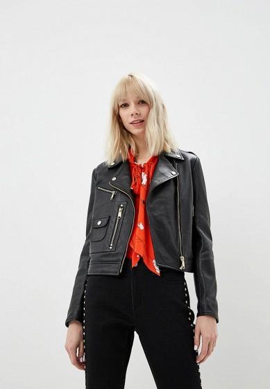 Куртка кожаная, Max&Co, цвет: черный. Артикул: MA111EWDQQL3. Premium / Одежда / Верхняя одежда