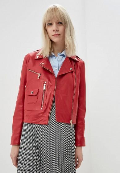 Куртка кожаная, Max&Co, цвет: красный. Артикул: MA111EWDQQL4. Premium / Одежда / Верхняя одежда