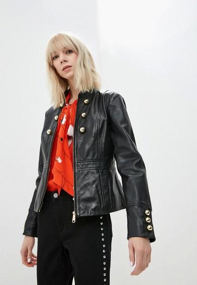 Куртка кожаная, Max&Co, цвет: черный. Артикул: MA111EWDQQL6. Premium / Одежда / Верхняя одежда