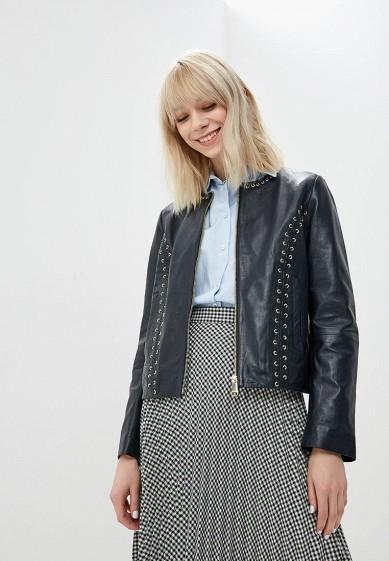 Куртка кожаная, Max&Co, цвет: синий. Артикул: MA111EWDQQL7. Premium / Одежда / Верхняя одежда