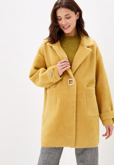 Пальто, Miss Gabby, цвет: желтый. Артикул: MI074EWGKCD7. Одежда / Верхняя одежда / Пальто