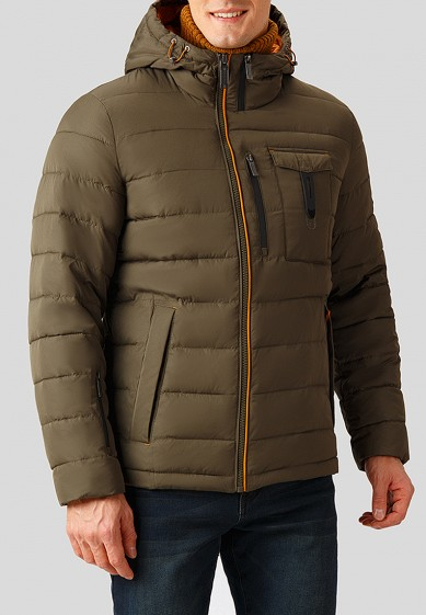 Куртка утепленная, Finn Flare, цвет: хаки. Артикул: MP002XM241GK. Одежда / Верхняя одежда / Пуховики и зимние куртки