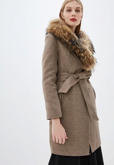 Пальто, Karolina, цвет: бежевый. Артикул: MP002XW0GV4F. Одежда / Верхняя одежда / Пальто / Зимние пальто