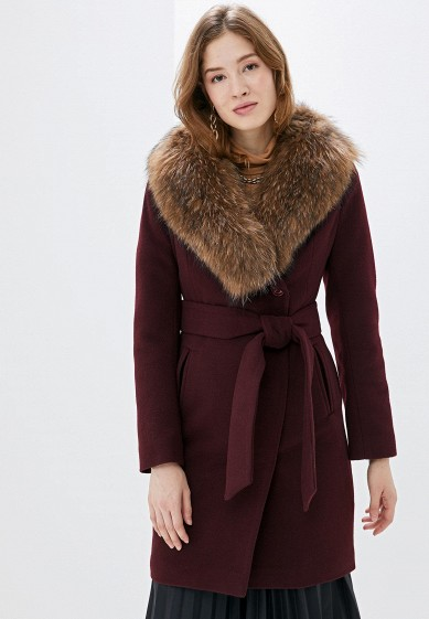 Пальто, Karolina, цвет: бордовый. Артикул: MP002XW0GV4I. Одежда / Верхняя одежда / Пальто / Зимние пальто