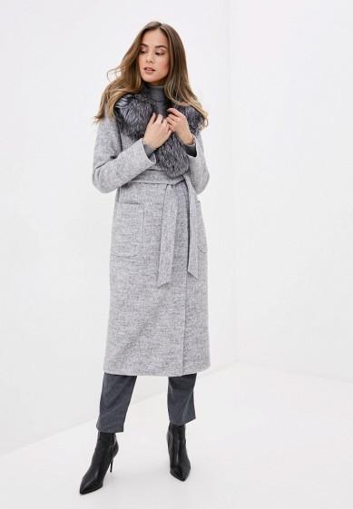 Пальто, Karolina, цвет: серый. Артикул: MP002XW0HFVB. Одежда / Верхняя одежда / Пальто / Зимние пальто