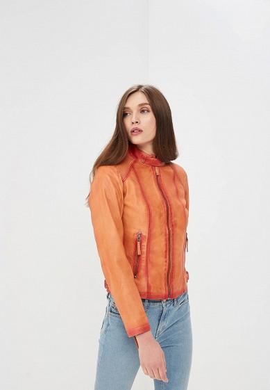 Куртка кожаная, Blue Monkey, цвет: оранжевый. Артикул: MP002XW0IXKZ. Одежда / Верхняя одежда / Кожаные куртки