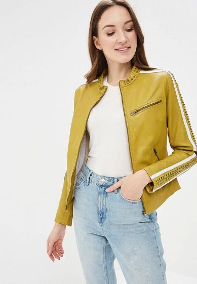 Куртка кожаная, Blue Monkey, цвет: желтый. Артикул: MP002XW0IXLK. Одежда / Верхняя одежда / Кожаные куртки