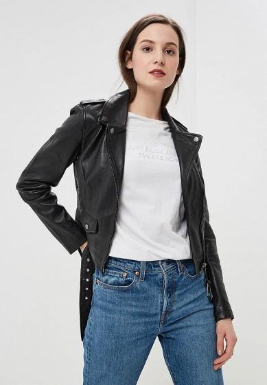 Куртка кожаная, La Reine Blanche, цвет: черный. Артикул: MP002XW0N3HL. Одежда / Верхняя одежда / Кожаные куртки