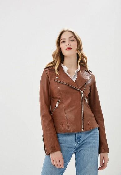 Куртка кожаная, La Reine Blanche, цвет: коричневый. Артикул: MP002XW0N3JG. Одежда / Верхняя одежда / Кожаные куртки