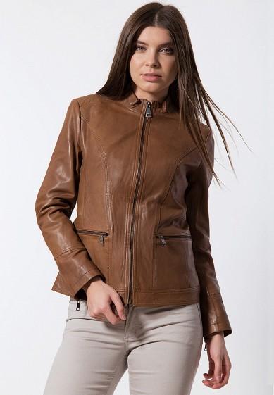 Куртка кожаная, Finn Flare, цвет: коричневый. Артикул: MP002XW13VS7. Одежда / Верхняя одежда / Кожаные куртки