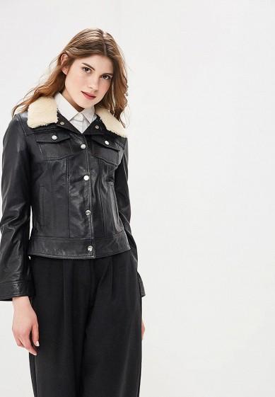 Куртка кожаная, Mondial, цвет: черный. Артикул: MP002XW15K3E. Одежда / Верхняя одежда / Кожаные куртки
