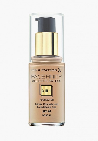 Тональная основа Max Factor FACEFINITY ALL DAY FLAWLESS 3-IN-1 №55