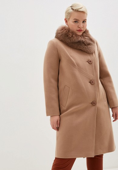 Пальто, Giulia Rosetti, цвет: бежевый. Артикул: MP002XW1BXAD. Одежда / Верхняя одежда / Пальто / Зимние пальто