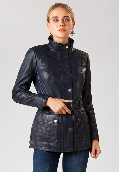 Куртка кожаная, Finn Flare, цвет: синий. Артикул: MP002XW1CRUB. Одежда / Верхняя одежда / Кожаные куртки