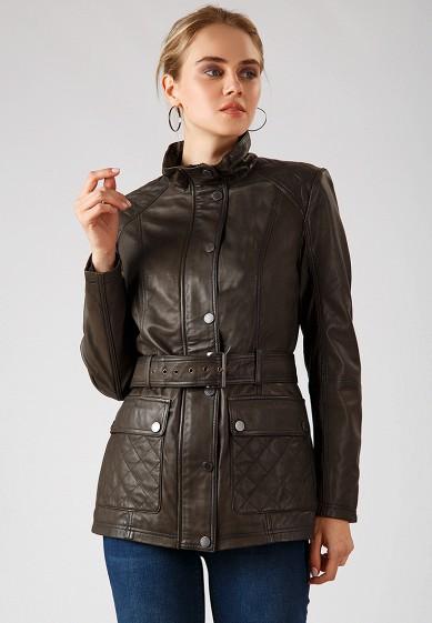 Куртка кожаная, Finn Flare, цвет: хаки. Артикул: MP002XW1CRWO. Одежда / Верхняя одежда / Кожаные куртки
