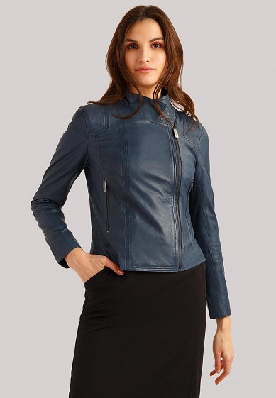 Куртка кожаная, Finn Flare, цвет: синий. Артикул: MP002XW1IJI6. Одежда / Верхняя одежда / Кожаные куртки