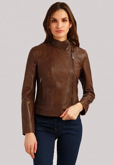 Куртка кожаная, Finn Flare, цвет: коричневый. Артикул: MP002XW1IJI7. Одежда / Верхняя одежда / Кожаные куртки