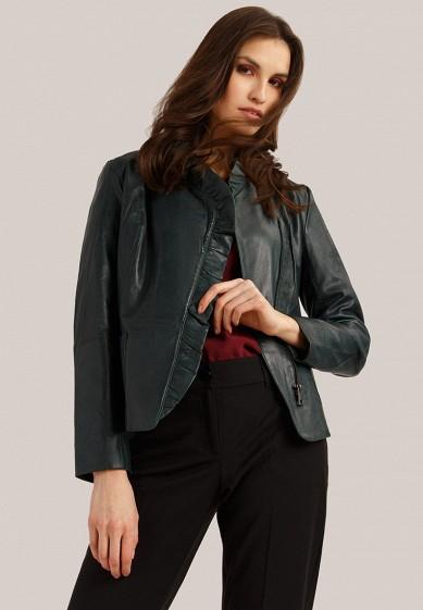 Куртка кожаная, Finn Flare, цвет: зеленый. Артикул: MP002XW1IK57. Одежда / Верхняя одежда / Кожаные куртки