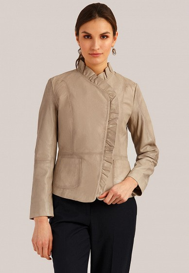 Куртка кожаная, Finn Flare, цвет: бежевый. Артикул: MP002XW1IK58. Одежда / Верхняя одежда / Кожаные куртки