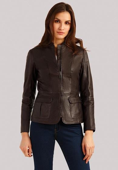 Куртка кожаная, Finn Flare, цвет: коричневый. Артикул: MP002XW1IQV6. Одежда / Верхняя одежда / Кожаные куртки