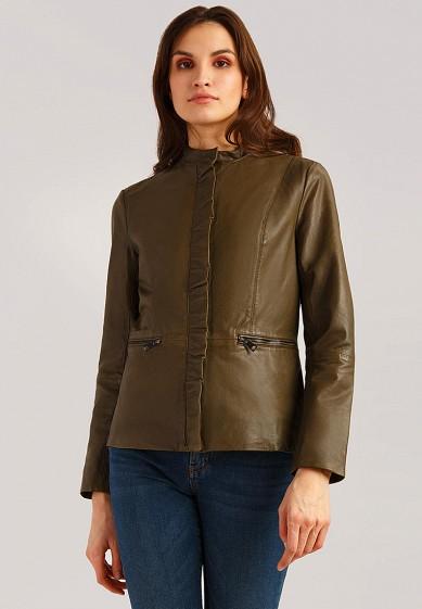 Куртка кожаная, Finn Flare, цвет: хаки. Артикул: MP002XW1IQVA. Одежда / Верхняя одежда / Кожаные куртки
