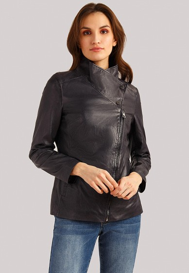 Куртка кожаная, Finn Flare, цвет: синий. Артикул: MP002XW1IQVB. Одежда / Верхняя одежда / Кожаные куртки