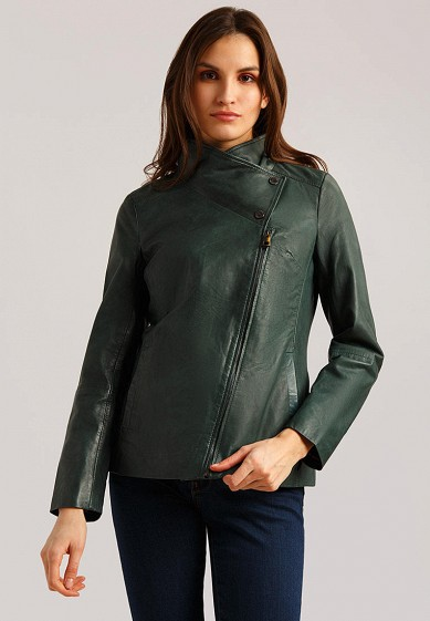 Куртка кожаная, Finn Flare, цвет: зеленый. Артикул: MP002XW1IQVD. Одежда / Верхняя одежда / Кожаные куртки