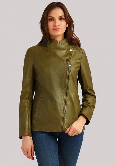 Куртка кожаная, Finn Flare, цвет: хаки. Артикул: MP002XW1IQVE. Одежда / Верхняя одежда / Кожаные куртки