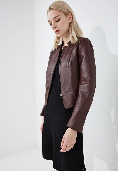 Куртка кожаная, Pennyblack, цвет: бордовый. Артикул: PE003EWAEDS4. Одежда / Верхняя одежда / Кожаные куртки